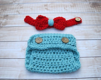 Baby Boy Cake Smash Outfit, Baby Boy Bow Tie and Diaper Cover Set, Newborn Bow Tie Set, Baby Bow Tie, Newborn Diaper Cover, Blue and Red