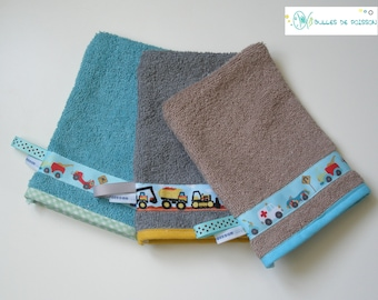 """set of 3 washcloth """"TRIO auto, truck, backhoe"""" for babies and young children"""