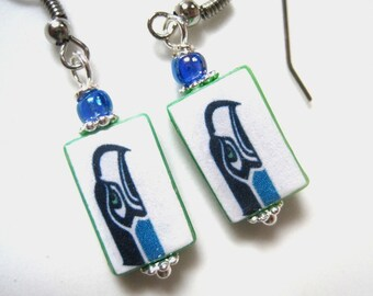 Seattle Seahawks. Pro Football. Fanwear. Petite Mother of Pearl Shell Earrings. Handmade.