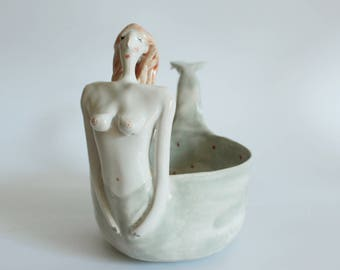 Mermaid bowl - ceramic siren bowl, planter
