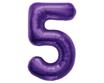 "34"" Number Balloons - Purple Balloons - 5th Birthday - 50th Anniversary - 50th Birthday - Five Balloon - Jumbo Balloon - Girl Birthday"