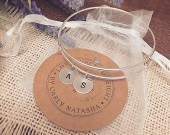 Hand Stamped Double 12mm Initial Disc Bangle -  Choose your color discs