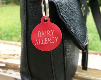 Custom Engraved Allergy Tag, Allergy Warning Tag for Chilred, Dairy Allergy, Nut Allergy, Custom Engraved Tag Keychain Necklace