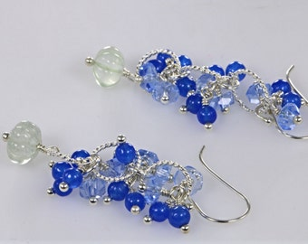 Carved Aquamarine Flower, Blue Kyanite and Chalcedony Cluster Earrings