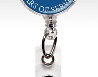 Years of Service Pins - Years of Service Badges - Retractable Badge Holder - Employee Recognition - Staff Appreciation - ID Badge