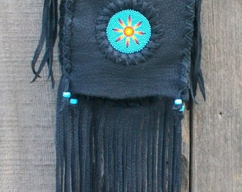 Black fringed handbag , Black leather handbag with a beaded sunburst , Leather bag Beaded flower , Black leather
