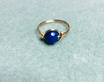 Large dark blue agate wire wrapped ring