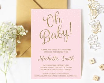 Baby Shower Invitation Girl, Pink And Gold, Confetti, Blush And Gold, Glitter, Sparkle, Oh Baby
