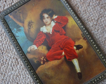 Wilkin's Red Boy 16oz Toffee Tin c1920s – Colourful image on lid featuring Master Lambton in red velvet