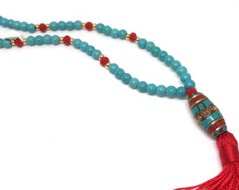 Turquoise Necklace, Red Tassel Necklace, Statement Necklace
