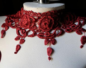 SALE Red Lace Venise Style for Bridal, Costumes, Millinery, Lace Jewelry CL 6013red