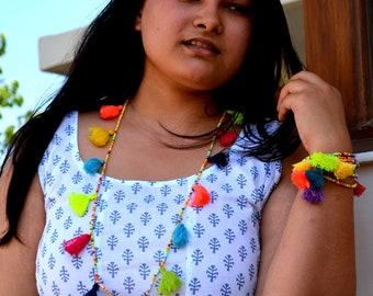 Summer Multi Seed Bead Boho Multi Tasseled Long Necklace / Tassel Necklace / Multi Coloured Necklace / Multi Tassel Necklace / Boho Necklace
