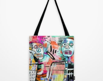 Unusual Basquiat Inspired Tote Bag, Colorful Street Art for your Urban Adventures