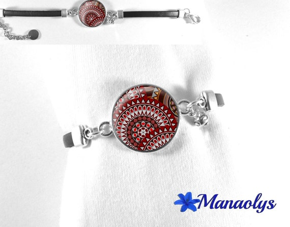 Genuine leather, Burgundy and grey patterns 435 glass cabochon bracelet