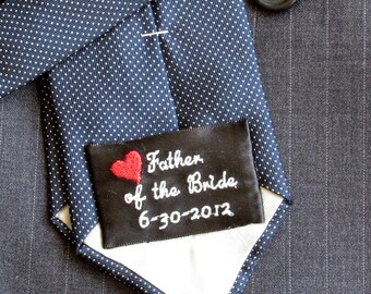 WEDDING TIE PATCH, Label, Groom, Father of the Bride/Groom, Several Designs, Custom Available, Satin Polyester Ribbon, 1 1/2 x 2 3/8 inches