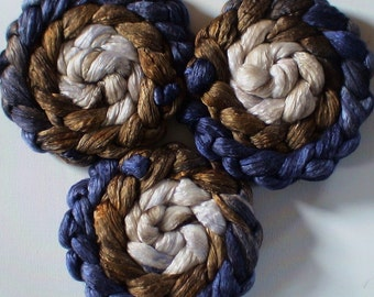 Roving for spinning luxury silk blends  gradient roving 2ozs Cowboy