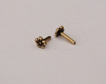 Antique Brass Plated Solid Rivet Daisy Design Pkg Of 10