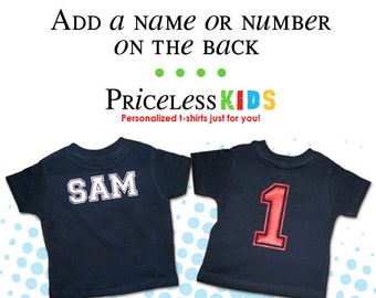 Add a number or the name on the back of the t-shirt