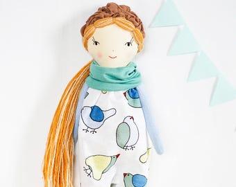 Heirloom rag doll, soft doll, cloth fabric doll, girl toddler gift, toddler toys, ooak stuffed dolls, nursery decor, long hair doll