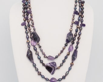 Chunky Amethyst and Freshwater Pearl Sterling Silver Necklace