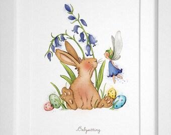 Bluebell & Rabbit - Illustrated Art Print