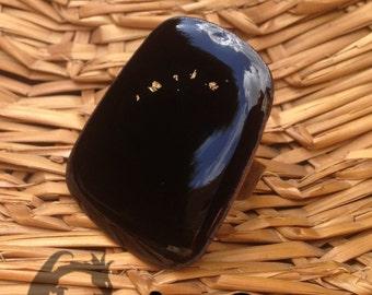 PLEIADES : bague de cuivre émaillé noir, parsemé d'étoiles d'or