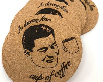 Twin Peaks Coasters, Twin Peaks Home Decor, Funny Twin Peaks Quotes, Twin Peaks Gift, Agent Dale Cooper, Damn Fine Cup of Coffee