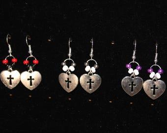 Cross Heart Dangle earrings