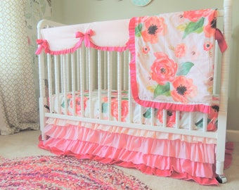 Custom Crib Bedding, Watercolor Floral Bedding, Blush Coral Pink Baby Girl Bedding, Ombre Ruffle Crib Skirt, Bumperless Bedding