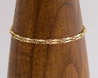 Simple Double Flat Chain Bracelet, Stackable, Handmade, Dainty, 14k Gold Filled, Everyday, Simply Me Jewelry Flat & Fancy Bracelet, SMJBR616