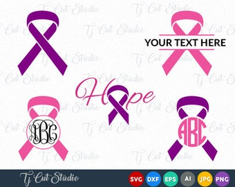 Cancer Ribbon SVG, Hope awareness ribbon, Cancer Ribbon Monogram, Split  Ribbon for Silhouette Cameo or Cricut Commercial & Personal Use.