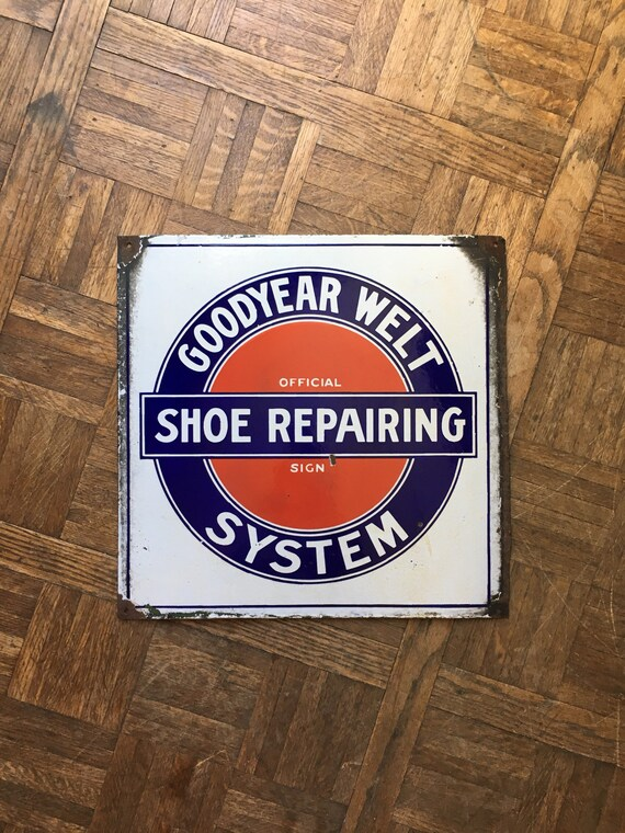 Vintage Porcelain Sign, Goodyear Welt System Shoe Repairing Trade Sign, Double Sided, Red White And Blue Americana Decor