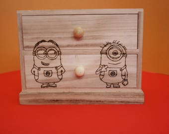Decorated jewellery box, cartoons, Pirografo engraving, gift idea