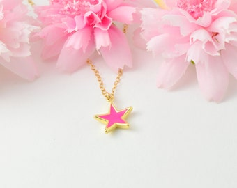 Pink star necklace, Gold star necklace, Fashionable necklace, Stylish necklace,  Modern necklace, Star necklace, Star jewelry, Pink necklace