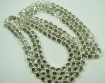 """Art Deco Czech Glass Sterling Silver Flapper Necklace. 1920s Clear Bubble Glass Bead Necklace. 40"""" Long Rope Necklace. Art Deco Jewelry"""