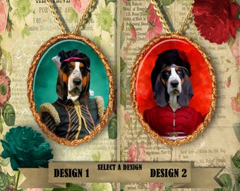 Basset Hound Jewelry. Basset Hound  Pendant or Brooch. Basset Hound Necklace. Basset Hound Portrait. Custom Dog Jewelry by Nobility Dogs.