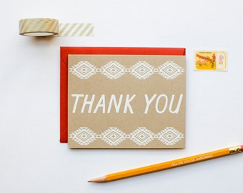 DISCONTINUED - Thank You - Native Graphic Pattern - southwestern - screen printed - boho - rustic - modern - white on kraft - thank you note
