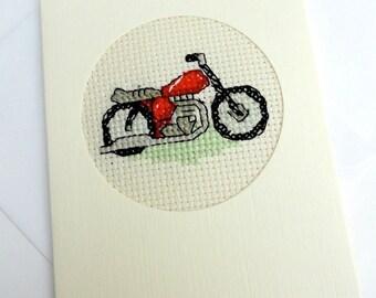 Motorbike Cross Stitch Card