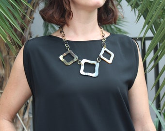 """Square Statement Necklace, Horn Necklace, Short Necklace, Chunky Necklace, Chain Link Necklace, Chain Jewelry, Chunky Jewelry, 24"""" length"""