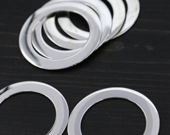 """2"""" Silver Ring/ 4 Pieces Sturdy Flat Ring/ Also Available 1.75"""" Rings for Purses and Accessories HR06s"""
