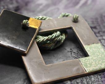 Gold & Minty Minimalist modern ceramic / Ceramic pendant / Modern ceramic jewelry / Minimal jewelry / Square Necklace