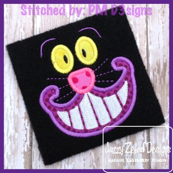 Cheshire Cat Appliqué embroidery Design - cat Appliqué Design - kitten Applique Design - smiling cat Appliqué Design - cat face Applique
