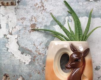 Vintage Ceramic Planter/Woodland/Deer/Fawn/Doe/Succulents