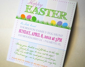 DIGITAL Hoppy Easter, Egg Hunt Invitation with pastel background and colorful eggs
