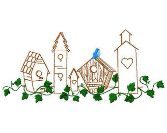 Birdhouses Machine Embroidery Design - Instant Download