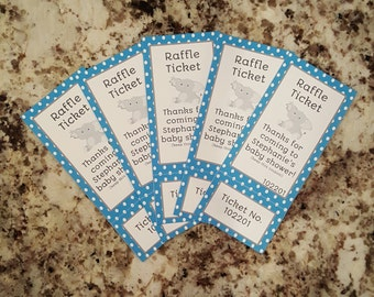 Perforated Elephant Baby Shower Raffle Tickets