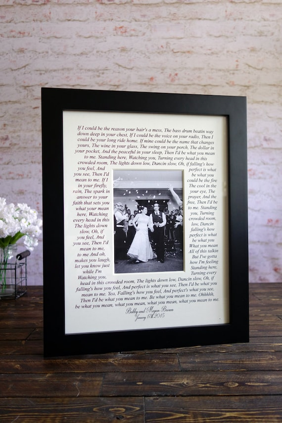 Wedding song lyrics Photo Mat personalized with Names first