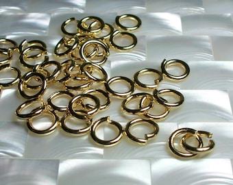 10mm 13g Heavy Duty OPEN High Polish Shiny Gold plated Steel Jump Rings 10pcs Heavy Duty Jewelry Jewellery  Craft Supplies