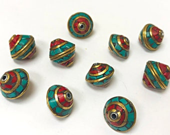 Nepal Brass Turquoise Coral Inlay Bead 12mm x 12mm -2 Beads, Nepal spacer Beads, Nepal beads - TBxx-A