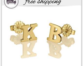 Initial Stud Earrings, Letter Stud Earrings, Personalized Earring, Custom Earrings Stud, Letter Earrings, Alphabet Stud Earrings • GPE1008